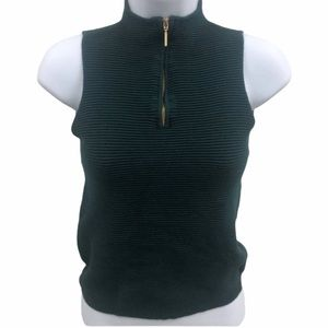 DYNAMITE GREEN RIBBED SLEEVELESS COLLAR TOP SIZE S